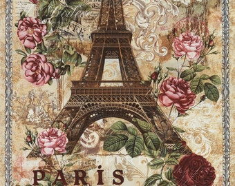 Fabric Timeless PARIS Panel Eiffel Tower Antique Art Nouveau style Roses  C3785 Natural