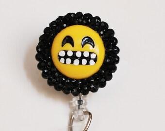 Emoji Grimace Face ID Badge Reel - Retractable ID Badge Holder - Zipperedheart