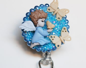 Angel Butterfly Catcher ID Badge Reel - Retractable ID Badge Holder - Zipperedheart