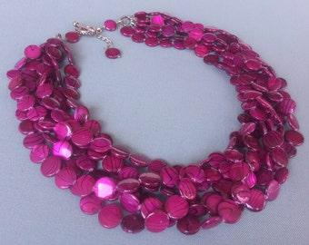Ruby Multi Strand Necklace Chunky Torsade Necklace Ruby Jewelry