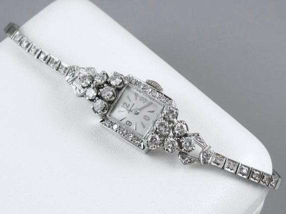PROFESSIONALLY RESTORED and SERVICED- Exceptional vintage Art Deco Swiss Croton ladies 14k white gold 2.16 carat diamond wrist watch