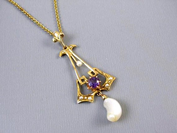 Antique Edwardian 10k gold purple amethyst seed pearl freshwater pearl lavalier pendant necklace