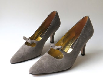 vintage Sesto Meucci Grey Suede Mary Jane Pumps with Bows