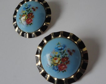 Gold tone with Black Enamel and Blue Lucite Cab with Flowers Earrings