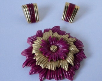 Gold Tone with Magenta Enameled Large Monet Flower Brooch and Earrings Set.