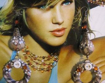 Nova Check Earrings,Filligree Loop Earrings, Plaid Textile Earrings