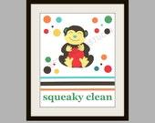 Kohl's Jumping Bean FROG and MONKEY, Monkey Art Print, Children's Art Print, Bath Art Print, 8x10,