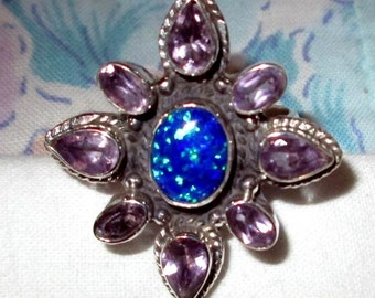RING   - Blue OPAL - AMETHYST - Bling - 925 - Sterling Silver - size 7 purple79