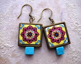 Tile Earrings Portuguese Portugal Antique Azulejo FRAMED  OVAR  - Burgundy Blue Ivory (see photo) Waterproof - reversible Majolica 495