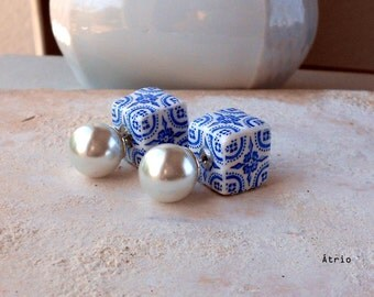 Portugal  Antique Azulejo Tile Replica FRONT BACK DOuBLE Earrings -  Stud Post Glass Pearls - Évora  UNESCO World Heritage  - Gift Box