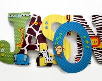 Jungle Wood Letters - Nursery Wooden Letters - Safari Animal Wall Letters - Wall Name Decor - Safari Jungle Animals - Elephant Giraffe Lion
