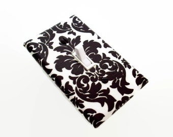 Damask Light Switch Cover - Brown and White Damask Decor - Switchplate Cover - Brown Modern Damask Decor - Outlet and Light Switch Covers