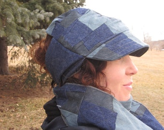Denim Patchwork Wrap Cap