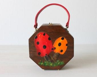 Vintage Wood Box Purse Handbag / Novelty Handbag / Hand Painted Wood Purse / Fabric Interior / Toad Stools