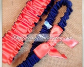 Simple Satin and Fully Reverseable Bridal Garter with BONUS Something Blue..You Choose The Colors..shown in navy blue midight/guava coral