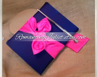 Knottie Wedding Guest Book and Pen Set...You Choose the Colors..shown in navy blue/hot pink
