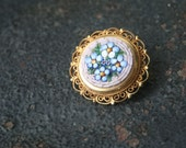 Vintage Micro Mosaic Forget Me Nots Blue Floral Brooch ITALY