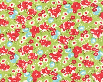 SUMMER SALE - 1 yard - Little Ruby -  Little Swoon in Green (55130-14) - Bonnie and Camille for Moda Fabrics