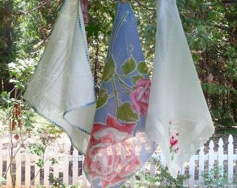 Vintage Pink Blue Hankies Handkerchiefs LOT 3, Roses, Embroidered Petit Point Flowers, Crocheted Edge