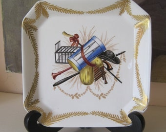 Mottahedeh Design Small Tray Dish Musical Insruments With Gold Swag Made in Italy