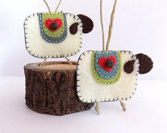 2 Primitive Felt Sheep Ornaments