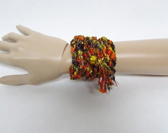 Beaded Crochet Wrap Bracelet in Brown, Orange and Yellow with Tassel - Ready To Ship