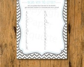 10% OFF INSTANT UPLOAD - Baby Shower Game Guess What Mom Answered Blue & Gray - Print Your Own