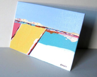 "Original acrylic landscape painting, sand and turquoise, 5"" x 7"", small art, Beach Cottage decor, abstract, seascape, gift idea"