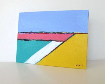 """Turquoise acrylic seascape painting on canvas, Beach Cottage decor, pink and sand, 5"""" x 7"""", small art, landscape, gift idea"""