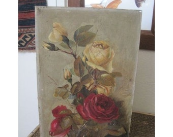 Summer SALE- Antique Painting Roses Oil Victorian Signed