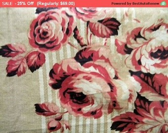 Surprise SALE - Sweet Shabby Antique French Fabric Roses Stripes Cotton Quilt Pillow