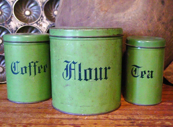 vintage kitchen canister set flour coffee tea green metal