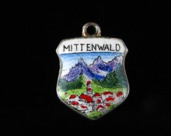 Charm, 800 Silver, Mittenwald, Bavaria Germany, Travel Shield, Mountain, Enamel Garmisch-Partenkirchen, Silver Charm