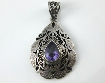 Reserved for Mpzollinger - Payment 2 of 2 - Vintage Southwestern Sterling Silver Tear Drop Shape Purple Amethyst Ornate Pendant.
