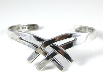 Cuff Bracelet, Sterling Silver, Mexico, Criss Cross Pattern, Weave Design, Vinage Silver Bracelet, Stamped 925 TA-62
