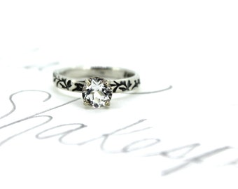 white topaz engagement ring . recycled silver topaz prong set ring . custom size . engraved vine ring . made to order by peaces of indigo