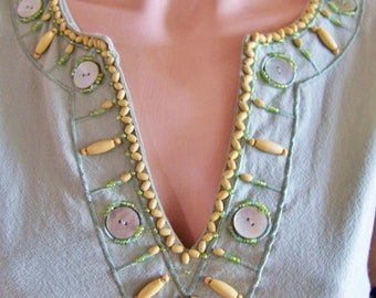 Sale, Beaded Blouse, Sleeveless Top, Pale Green Top, MOP + wood embellished, Summer Top, size L
