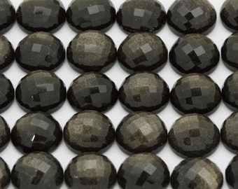 ONE 12mm Gold Obsidian Round Checkerboard Cut Cabochon