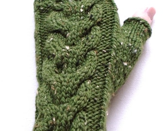 Fingerless Gloves for Women, Teen Girls, Handknit Gloves, Texting Gloves, Hand Warmers, green gloves, cable gloves, wool and acrylic gloves