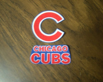 "Chicago Cubs Iron on cotton patch (set of 2) 2"" x 2"". 2 1/2"" x 1"". NEW"