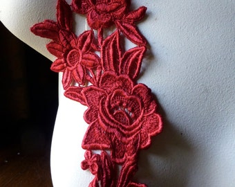 RED Lace Applique with Triple Flowers Venice Lace for Bridal, Costume Design CA