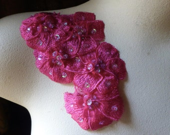 Fuchsia Beaded Lace Applique for Lyrical Dance, Sashes, Headbands, Costumes CA