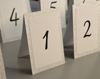 """Silver or Gold Glitter Design - Tented Table Numbers - 4 x 6"""""""