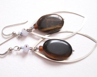 Tiger's Eye earrings, raindrop shapes, blue lace agate, sterling and stone earrings