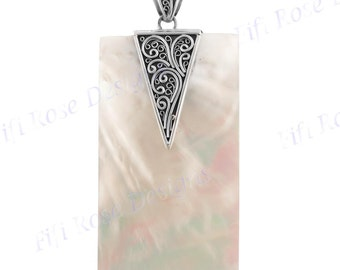 "3"" White Mother Of Pearl Shell 925 Sterling Silver Pendant"