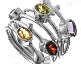 "1"" Gorgeous Multi Gemstones 925 Sterling Silver Sz 6 Ring"