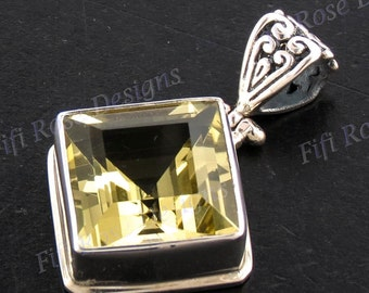 """1 1/4"""" Gorgeous Lemon Quartz 925 Sterling Silver Pendant"""