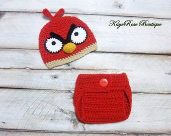 Angry Birds Inspired Newborn to Three Month Old Baby Crochet Hat and Diaper Cover Set Red Bird