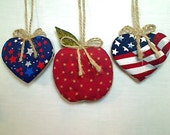 Americana Red Apple & Heart Ornaments | Patriotic Decor | Red White Blue | Handmade | Independence Day | July Fourth | Holidays | Set/3 | #1