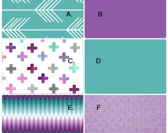 DEPOSIT Crib Bedding Set Purple and Turquoise Aztec Crosses and Arrows